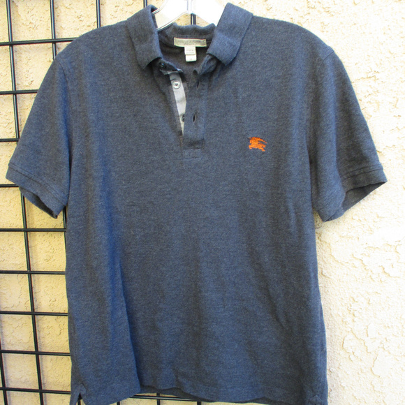 Burberry Other - BURBERRY BRIT GRAY POLO SHIRT ~ M ~ PLAID FABRIC